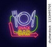 snack bar neon sign  bright... | Shutterstock .eps vector #1133495705