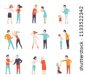 flat vector set of quarreling... | Shutterstock .eps vector #1133522342