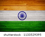 indian flag painted on wooden...   Shutterstock . vector #1133529395