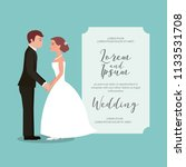 bride and groom holding hands... | Shutterstock .eps vector #1133531708