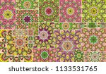 vector patchwork quilt pattern. ...   Shutterstock .eps vector #1133531765