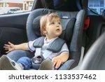 curious little baby boy sitting ... | Shutterstock . vector #1133537462