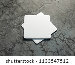 two white beer coasters mockup... | Shutterstock . vector #1133547512