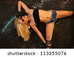 sexy model in jeans shorts... | Shutterstock . vector #113355076
