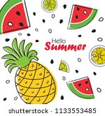 summer bright fruit background... | Shutterstock .eps vector #1133553485