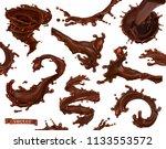 chocolate splash. 3d realistic... | Shutterstock .eps vector #1133553572
