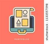 portfolio sticker. thin line ... | Shutterstock .eps vector #1133557598