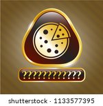 Gold Shiny Badge With Pizza...