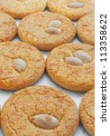 almond cookies close up vertical | Shutterstock . vector #113358622