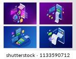 isometric smart smartphone... | Shutterstock .eps vector #1133590712