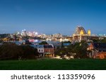 This image shows a view of North Sydney and Harbour Bridge, Sydney, Australia - stock photo