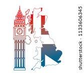 united kigndom flag in map big... | Shutterstock .eps vector #1133606345