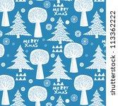 merry christmas winter forest | Shutterstock .eps vector #113362222