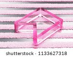pink bookmark glass icon on...