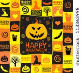halloween card with bats and... | Shutterstock . vector #113363998