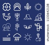 set of 16 nature outline icons...   Shutterstock . vector #1133642138