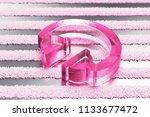 pink headphones glass icon on...