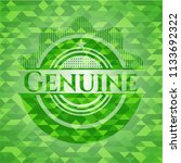 genuine realistic green emblem. ... | Shutterstock .eps vector #1133692322