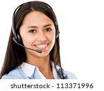 Customer service representative wearing headset - isolated over a white background - stock photo