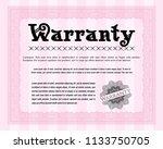 pink warranty. elegant design.... | Shutterstock .eps vector #1133750705