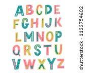 hand drawn lettering alphabet.... | Shutterstock .eps vector #1133754602