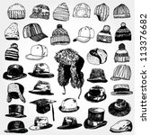 collection of hats hand drawn | Shutterstock .eps vector #113376682