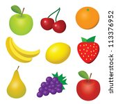Vector Illustration Of 9 Fruits ...
