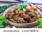 spicy stir fried duck with... | Shutterstock . vector #1133780876