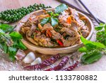 spicy stir fried duck with... | Shutterstock . vector #1133780882