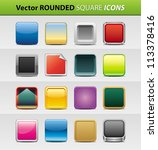 vector set of 16 rounded square ... | Shutterstock .eps vector #113378416