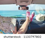 woman traveler with map in her... | Shutterstock . vector #1133797802
