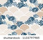 Stock vector chrisantemum flower traditional kimono pattern vector sketch illustration line art japanese chinese 1133797985
