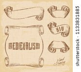 hand drawing old ribbons set... | Shutterstock .eps vector #1133831885