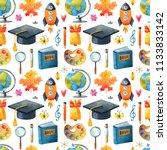 seamless watercolor school...   Shutterstock . vector #1133833142