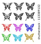 butterfly set in colorful and... | Shutterstock .eps vector #113389132