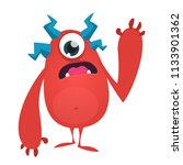 cute cartoon monster with one... | Shutterstock .eps vector #1133901362
