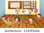 illustration of a kids in the... | Shutterstock . vector #113392666