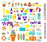 summer and travel icons big set.... | Shutterstock . vector #1133938085