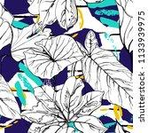tropical  modern stripes motif. ... | Shutterstock .eps vector #1133939975