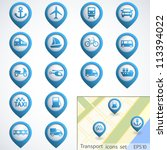 transport buttons set with map. ... | Shutterstock .eps vector #113394022