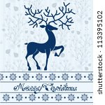 Christmas deer card with text: Merry Christmas, beautiful illustration, vector - stock vector