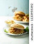 pulled pork and coleslaw salad... | Shutterstock . vector #1133955392