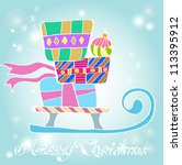 Christmas background with sledge and gifts, illustration - stock photo