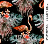flamingo pattern. tropical... | Shutterstock . vector #1133961812