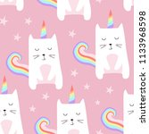 Stock vector seamless pattern with cute cats unicorn cartoon cat vector illustration perfect for kids fabric 1133968598