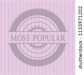 most popular badge with pink... | Shutterstock .eps vector #1133971202
