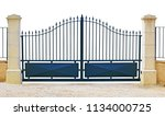 Blue Gate With Bars And Sheet...
