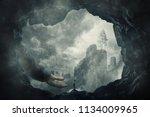surreal view as a wander girl... | Shutterstock . vector #1134009965