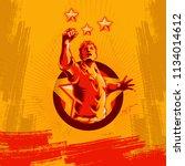 revolution poster propaganda... | Shutterstock .eps vector #1134014612