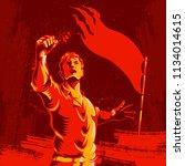 protest fist revolution poster... | Shutterstock .eps vector #1134014615